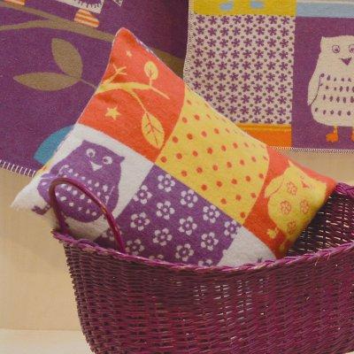 DF JUWEL potah na polštář 30x40 cm patchwork sova fialová