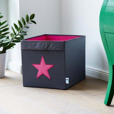 STORE IT Úložný box velký šedá s růžovou hvězdou - 21902_001
