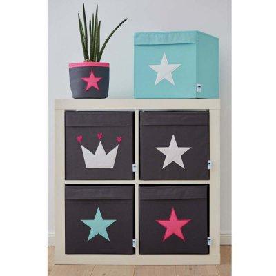 STORE IT Úložný box velký šedá s růžovou hvězdou - 21902_002