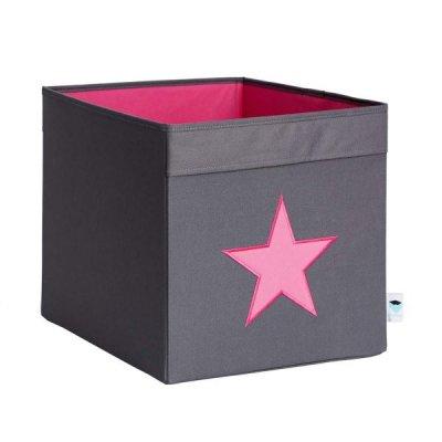 STORE IT Úložný box velký šedá s růžovou hvězdou
