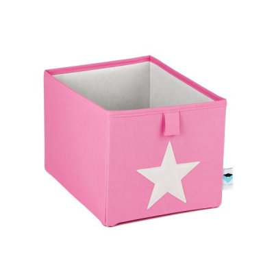 STORE IT Úložný box malý růžová s bílou hvězdou