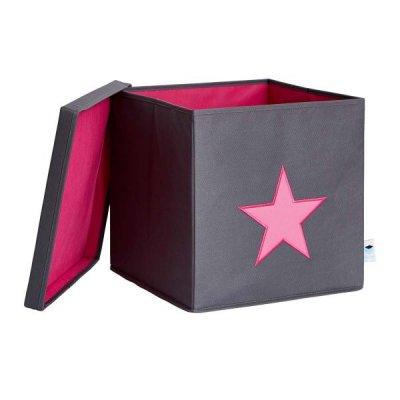 STORE IT Úložný box s víkem šedá s růžovou hvězdou