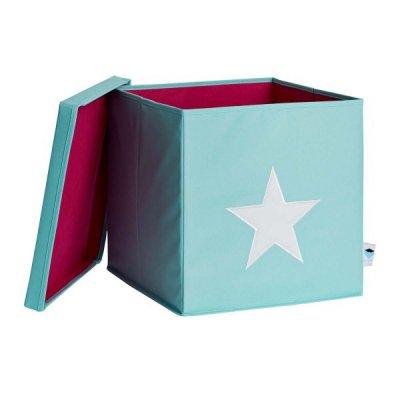 STORE IT Úložný box s víkem mintová s bílou hvězdou