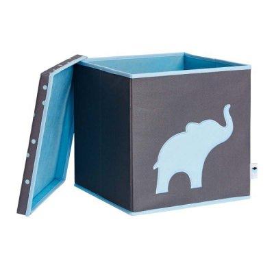 STORE IT Úložný box s víkem šedá s modrým slonem