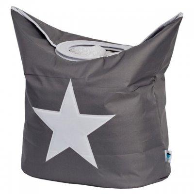 STORE IT Koš na prádlo šedá s bílou hvězdou