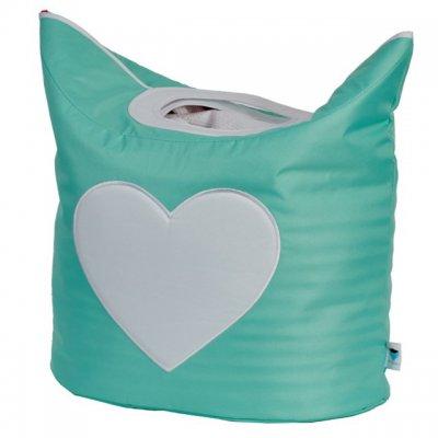 STORE IT Koš na prádlo mintová s bílým srdcem