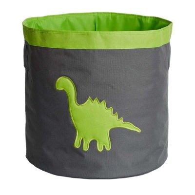 STORE IT Úložný koš velký šedá se zeleným dinosaurem
