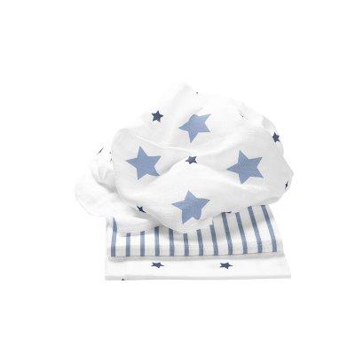 ODENWÄLDER Pleny 3ks Stars and Stripes Ice Blue 80x80 cm