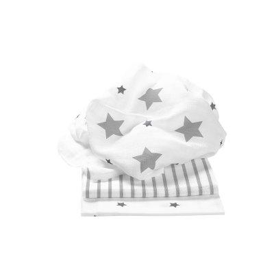 ODENWÄLDER Pleny 3ks Stars and Stripes Light Silver 80x80 cm