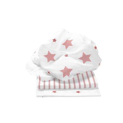 ODENWÄLDER Pleny 3ks Stars and Stripes Light Coral 80x80 cm