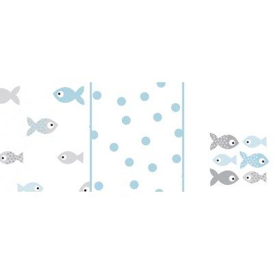 ODENWÄLDER Pleny 3ks Fish in the Sea Light Mint 80x80 cm
