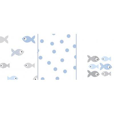 ODENWÄLDER Pleny 3ks Fish in the Sea Ice Blue 80x80 cm