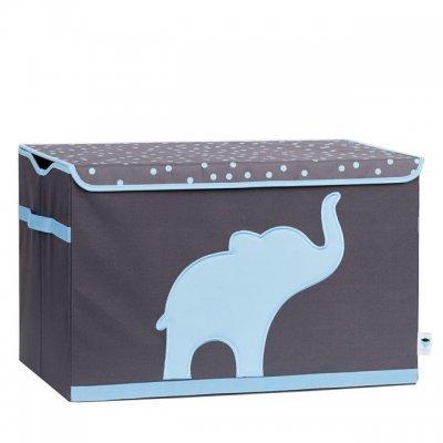 STORE IT Truhla na hračky šedá s modrým slonem