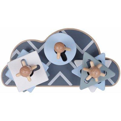 KINDSGUT Dřevěné stohovací puzzle obláček šedá