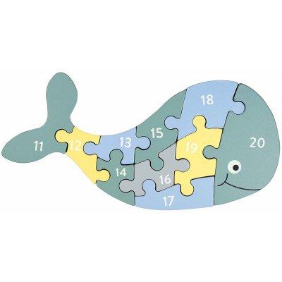 KINDSGUT Dřevěné puzzle s čísly velryba