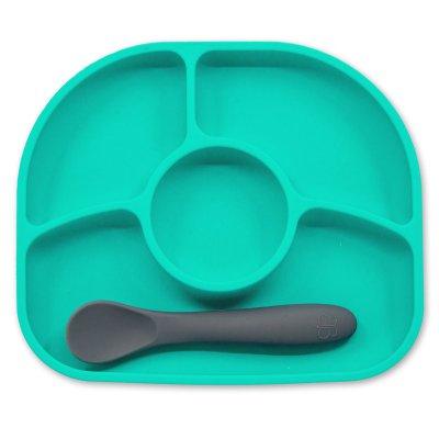 BBLÜV Yümi Silikonový talířek a lžička Aqua