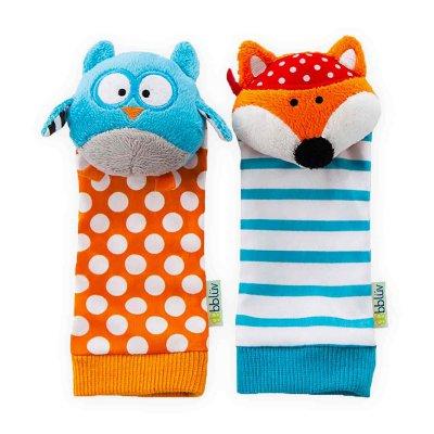 BBLÜV Düo Chrastítka na nohu Owl & Fox