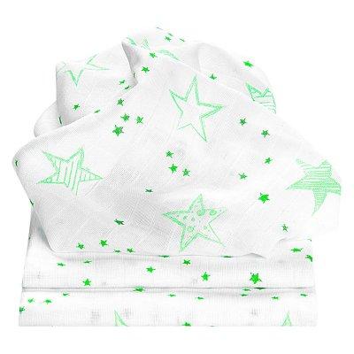 ODENWÄLDER Pleny 3ks Scribble Stars Neon Mint 80x80 cm